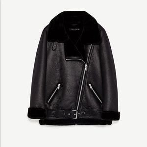 BNWT Zara biker black coat